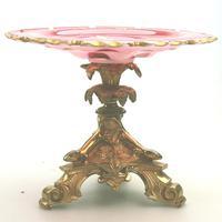 A Very Fine French Napoleonic Ormolu & Flashed Glass Tazza C.19thc