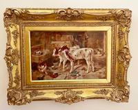 Victorian Oil of a Farmyard Scene C1900 (6 of 6)