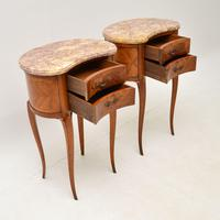 Pair of Antique French Marble Top Kidney Bedside Tables (7 of 12)
