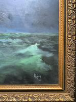 Huge Magnificent 20th Century Vintage Seascape Oil Painting - Battleship in Rough Sea (10 of 12)