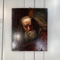 Antique oil painting portrait of a Jewish Rabbi (7 of 10)
