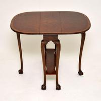 Antique Burr Walnut Drop Leaf Dining Table (9 of 11)