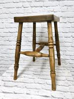 19th Century Kitchen Stool with Sycamore Seat (3 of 5)