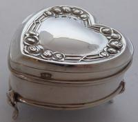1909 Hallmarked Silver Love Heart Pill Earring Jewellery Box Arts & Crafts (9 of 10)