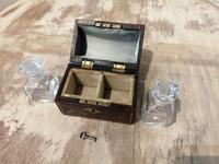 Miniature Leather Trunk Containing a Pair of Clear Glass Scent Bottles (5 of 5)