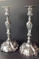 Pair of Tall Antique Georgian Silver Candlesticks - 1769