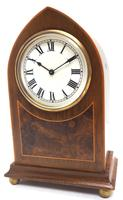 Impressive Mahogany Edwardian Lancet Clock Burr Walnut Inlay Timepiece Mantel Clock (4 of 8)