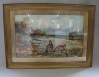 Pair of Gilt Framed Watercolour Paintings of Grouse (6 of 9)