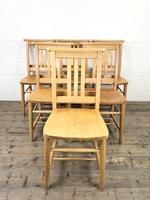 Set of Six Vintage Beech Chapel Chairs (5 of 19)