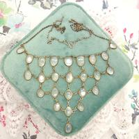 Antique Edwardian Silver Moonstone Festoon Bib Necklace c.1901 (5 of 9)