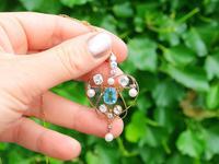 3.22ct Diamond & 2.10 ct Aquamarine, Pearl & 18ct Yellow Gold Pendant / Brooch - Antique Victorian (2 of 9)