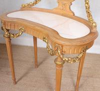 Neoclassical Marble Dressing Table Gilt Mirrored Vanity Satinwood (9 of 14)
