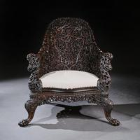 Exceptional 19th Century Anglo Indian Carved Teak Armchair (3 of 9)