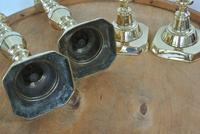 "Rare Set of 4 Large Victorian Brass Candlesticks Through Pushers 12.5"" c.1890 (3 of 7)"