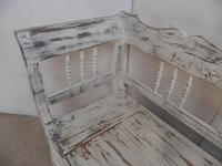 Shabby Chic White 3 Seater Antique Pine Kitchen/ Hall Box Settle / Bench (6 of 10)