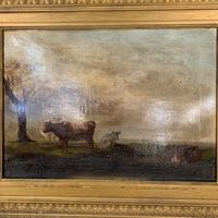 Antique large Georgian landscape oil painting study of cows (5 of 9)