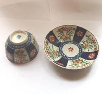 A Porcelain 1st Period Worcester Queen's Imari Tea Bowl & Saucer C.1770 (5 of 7)