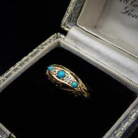 Antique Turquoise and Diamond Five Stone Scroll Boat 18ct 18K Yellow Gold Ring (4 of 10)