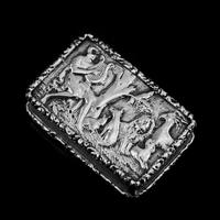 "Rare Antique Georgian Solid Silver Vinaigrette Figural Scene with Animals & Harp ""Orpheus Enchanting Animals""- Joseph Taylor 1827 (5 of 18)"