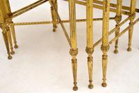 1950's Vintage Brass & Mahogany Nest of Tables (2 of 10)