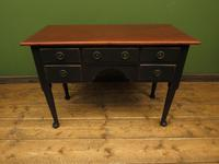 Antique Black Painted Writing Table Desk with Drawers, Gothic Shabby Chic (4 of 12)