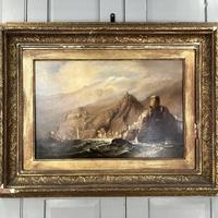 Antique Victorian Large Marine Seascape Oil Painting of Sailing Boats (3 of 10)