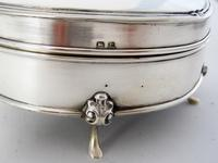Large Oval Silver Jewellery or Trinket Box with Green Felt Lining (7 of 7)
