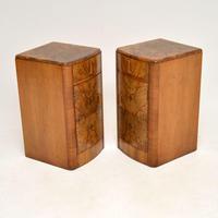 Pair of Art Deco Figured  Walnut Bedside Cabinets (8 of 10)