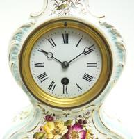 Antique 8 Day Porcelain Mantel Clock Sevres Egg Shell Blue Floral French Mantle Clock (6 of 12)