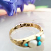 Antique Victorian 15ct Gold Turquoise & Pearl Ring (9 of 9)