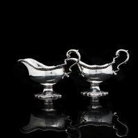Pair of Georgian Solid Silver Pedestal Sauce Boats - William Collins 1774 (17 of 20)