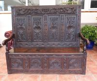 Country Oak Carved Settle Depicting Phoenix 1750 (13 of 13)