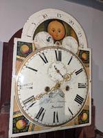 19th Cent Mahogany Moon Dial Longcase Grandfather Clock (5 of 5)