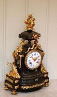 French Louis XVI Style Parcel-Gilt Bronze Mantel Clock (4 of 18)