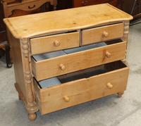 1900's Country Pine Serpentine Front Chest of Drawers (3 of 3)
