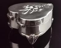 Antique Heart Shaped Silver Jewellery Box, Art Nouveau, William Comyns (4 of 15)