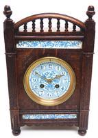 Fine Antique Arts & Crafts Mantel Clock – 8-day Carved Delftware Striking Mantle Clock (2 of 11)