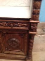 19th Century French Solid Oak Gothic Oak Revival Marble Top Washstand (5 of 9)