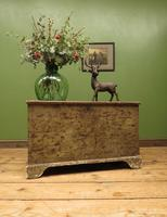 Large Antique Old Painted Green Distressed Pine Trunk Chest, Rustic Blanket Box (18 of 18)