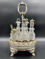 Fabulous Quality 19thc Victorian Silver Plated Cruet Set Inc 5 Cut Glass Bottles (2 of 12)