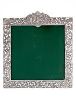 Antique Square Silver Frame with a Cartouche Depicting Females and Horses (5 of 7)