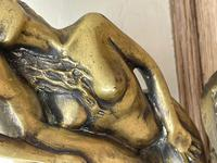 Art Deco French Signed Gilt Bronze 2 Female Nude Mermaids Swimming Statue c.1930 (18 of 41)