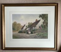J.W.Miliken Pair of Watercolours 'Evening Ince Blundell & Afternoon Near Chipping, Camden' (4 of 5)