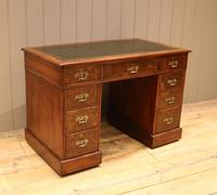 Late 19th Century Burr Walnut Pedestal Desk (7 of 11)