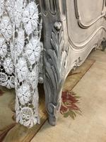 Antique French Double Bed Frame & Pot Cupboard Painted in Weathered Grey (3 of 12)