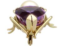 12.39ct Amethyst, Pearl & Ruby, 14ct Yellow Gold Insect Brooch - Vintage c.1960 (3 of 9)