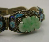 Superb Chinese Solid Silver Gilt Enamel & Jade Bracelet c.1920 Antique (3 of 12)