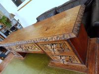 Country Oak Lions Head Pedestal Desk 1860 (10 of 12)