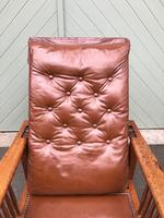 Arts & Crafts Oak & Leather Reclining Armchair (4 of 10)