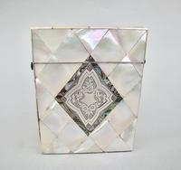Exquisite Victorian Silver & Mother of Pearl Card Case c.1870 (4 of 7)